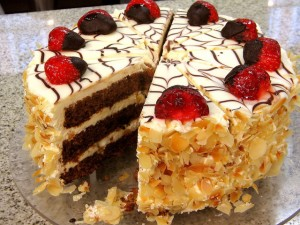Chocolate, coconot and strawberry Cake